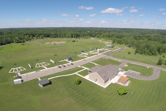 Aerial view of the John Anthony Halter Shooting Sports Education Center.