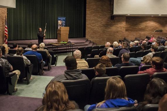 Auditorium lecture on the second amendment.