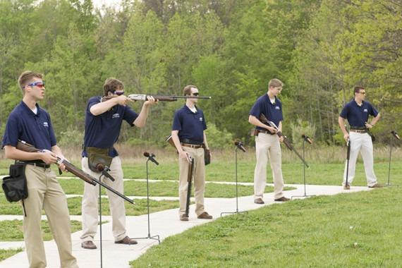 Five members of the Hillsdale Shotgun Team practicing.