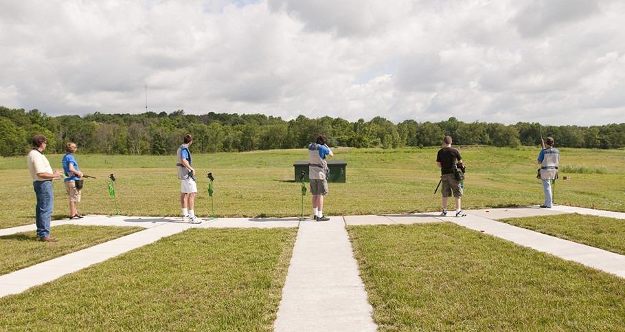 Students at the shotgun range during a seminar.