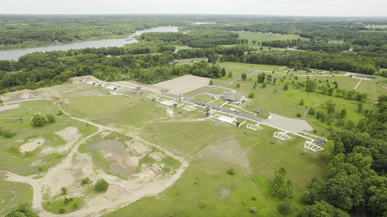 An aerial view of the Halter Center